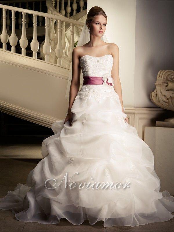 Fascia Viola A Line Senza Spalline Vestiti da Sposa
