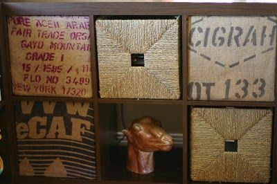"""Fashion """"screens"""" out of MDF and cover them with burlap coffee sacks"""