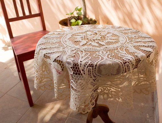 Vintage Lace Tablecloth Table Topper Point de by BelladonaVintage