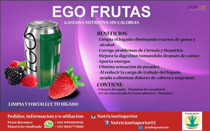 Ego Frutas - Omnilife - Gaseosa nutritiva y DELICIOSA sabor a frutos rojos.  Con vitaminas y extracto de regaliz.  Regenera y limpia el higado mendiante la óptima nutrición de las células hepáticas.