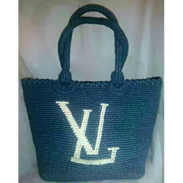 louis vuitton inspired twine crochet bag