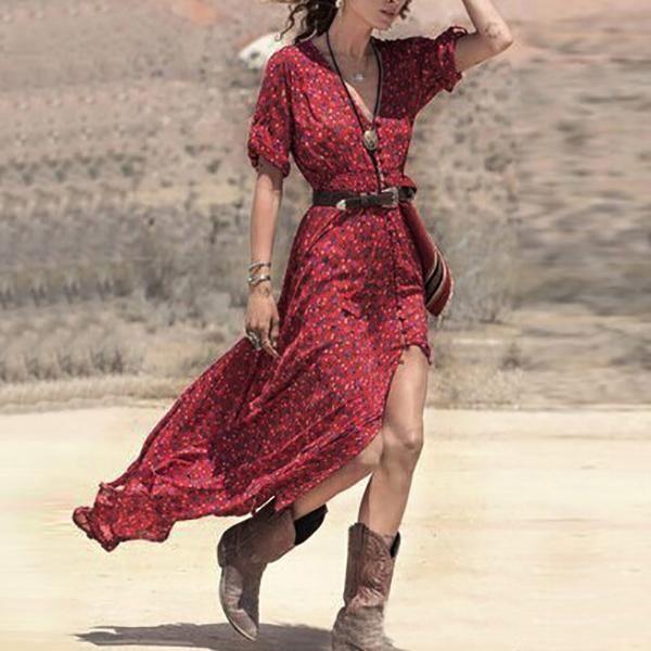 Bohemian Fashion Women Summer Dress Casual V Neck Belted Split Maxi Long Vestidos S M L Red Boho Style Party Dresses