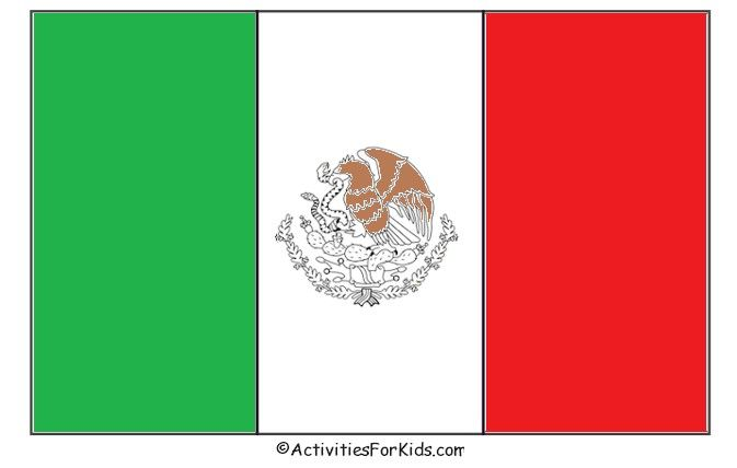 Printable Mexican Flag tempalte for kids to decorate.  Great classroom craft for Cinco de Mayo