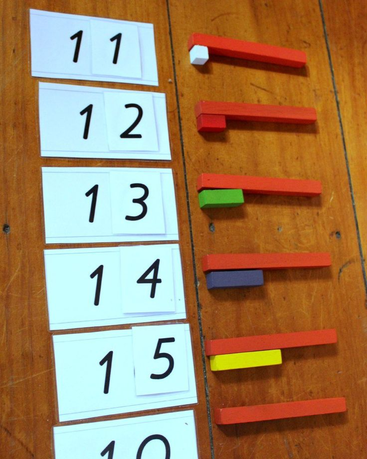 Practicing the Teen numbers with C-rods. Can be used to teach place value or addition.