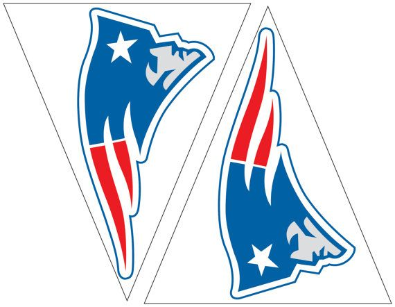 New England Patriots printable flags with Pats logo. Easy Party decorations for New England football fans. Immediate download for decor