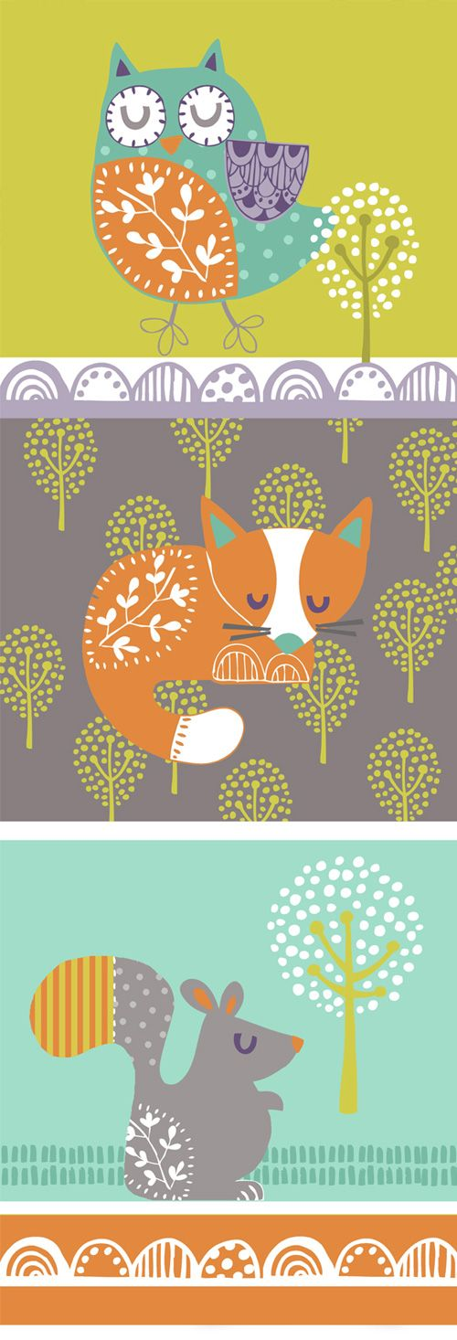 My Owl Barn: Wendy Kendall  I love these colors and images for a nursery