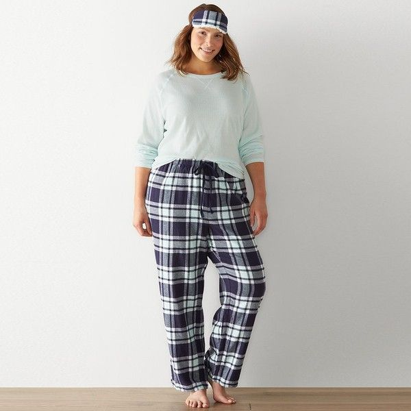 Plus Size SONOMA Goods for Life™ Pajamas: 3-Piece Thermal Flannel... ($27) ❤ liked on Polyvore featuring plus size women's fashion, plus size clothing, plus size intimates, plus size sleepwear, plus size pajamas, blue, plus size, thermal pjs, flannel pyjamas and plus size pajama sets