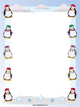Happy, waddling penguins in winter scarves and hats decorate this free, printable Christmas border. Free to download and print.
