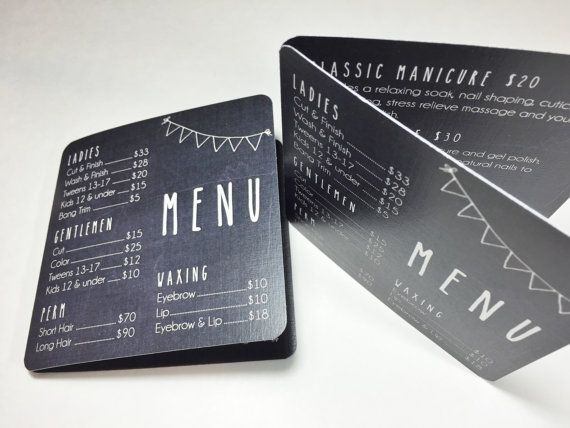 Chalkboard Pocket-Size Salon Menu Card for door pixelstopaper