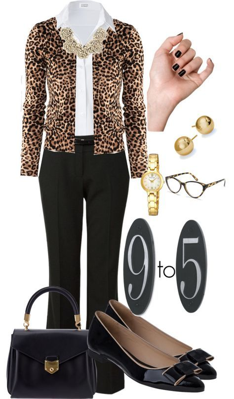 black pants, white shirt, H & M leopard print cardigan, black bow flats &  bag