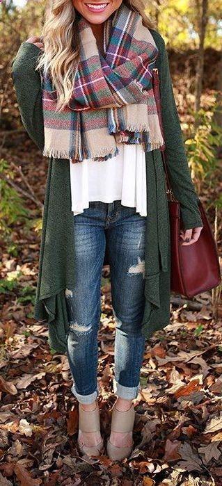 #fall #fashion / tartan scarf   oversized olive cardigan