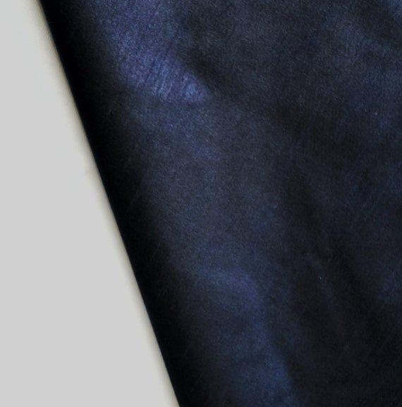 Navy Blue Silk Fabric By The Yard, Navy Blue Faux Silk Curtain Fabric, Apparel Fabric, Silk Dupioni Fabric, Indian Silk Fabric By The Yard