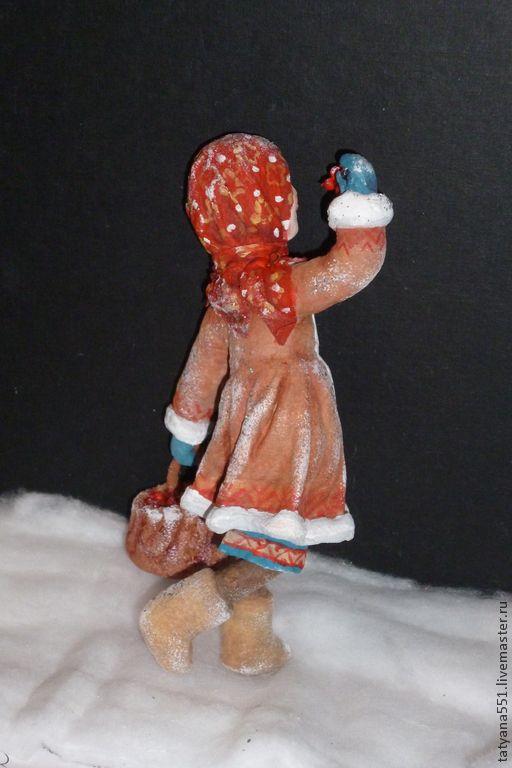 """Купить Елочная игрушка из ваты """"Лесная прогулка - Настенька и Василек"""" - бежевый, красный, ватная игрушка"""