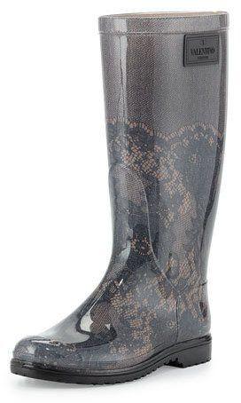 Valentino Lace-Print Rain Boot, Blush - $295.00