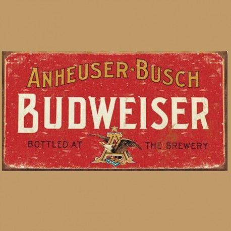 Enseigne en Métal avec Fini Vieillit Budweiser Vieux Logo