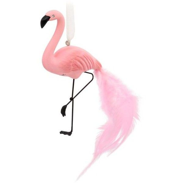 Pink Flamingo Premium Hallmark Ornament (€12) ❤ liked on Polyvore featuring home, home decor, holiday decorations, tropical ornaments, feather christmas tree ornaments, pink flamingo home decor, tropical christmas ornaments and pink christmas tree ornaments