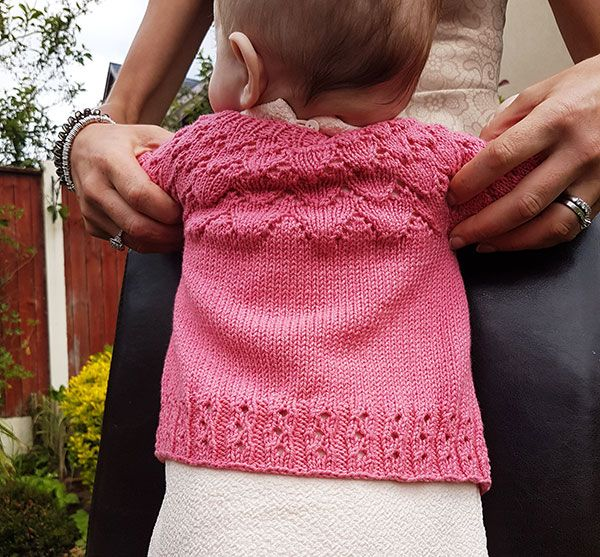 An Bronntanas An Bronntanas is a cute and pretty baby cardigan that's versatile enough for a girl or a boy. The simple lace design on the yoke adds interest. MATERIALS Yarn:Double knit 250 - 490 metres/273 - 534 yards Shown