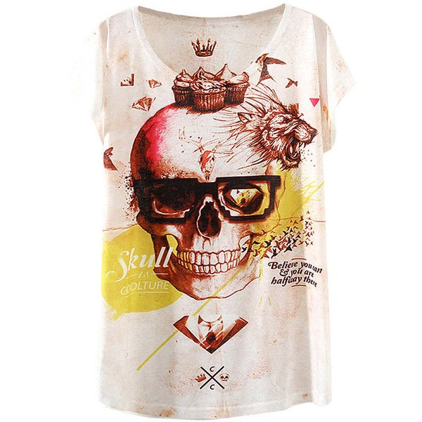 Beige Bat Sleeve Crown Skull Printed Fashion Ladies T Shirt ($7.98) ❤ liked on Polyvore featuring tops, t-shirts, beige top, batwing sleeve tops, skull t shirts, beige t shirt and skull tee