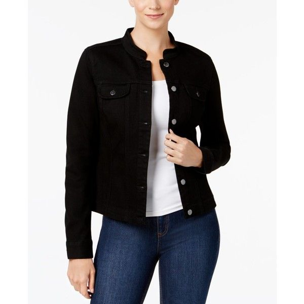 Charter Club Mandarin-Collar Denim Jacket, Created for Macy's ($47) ❤ liked on Polyvore featuring outerwear, jackets, saturated black, jean jacket, charter club jackets, mandarin collar denim jacket, mandarin collar jacket and denim jacket