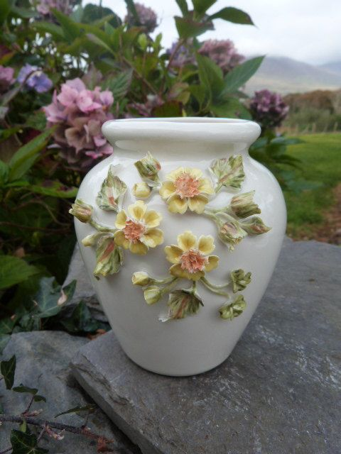sold          irish porcelain vase with applied wild irish by hillgroveporcelain