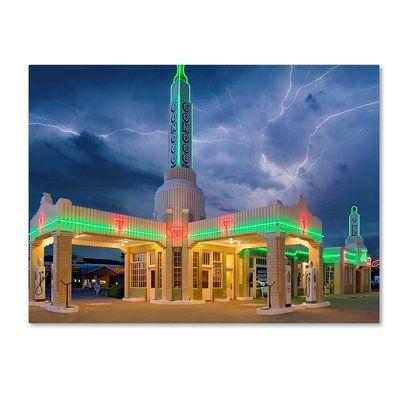 "Trademark Art 'Rt 66 Shamrock Texas Conoco Lightning' Photographic Print on Wrapped Canvas Size: 35"" H x 47"" W"
