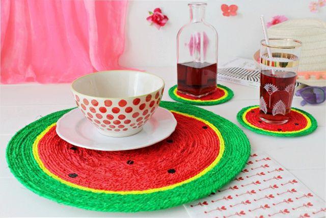 Mantel sandía DIY hecho con cordel y pintura / DIY watermelon tablecloth made with string and paint