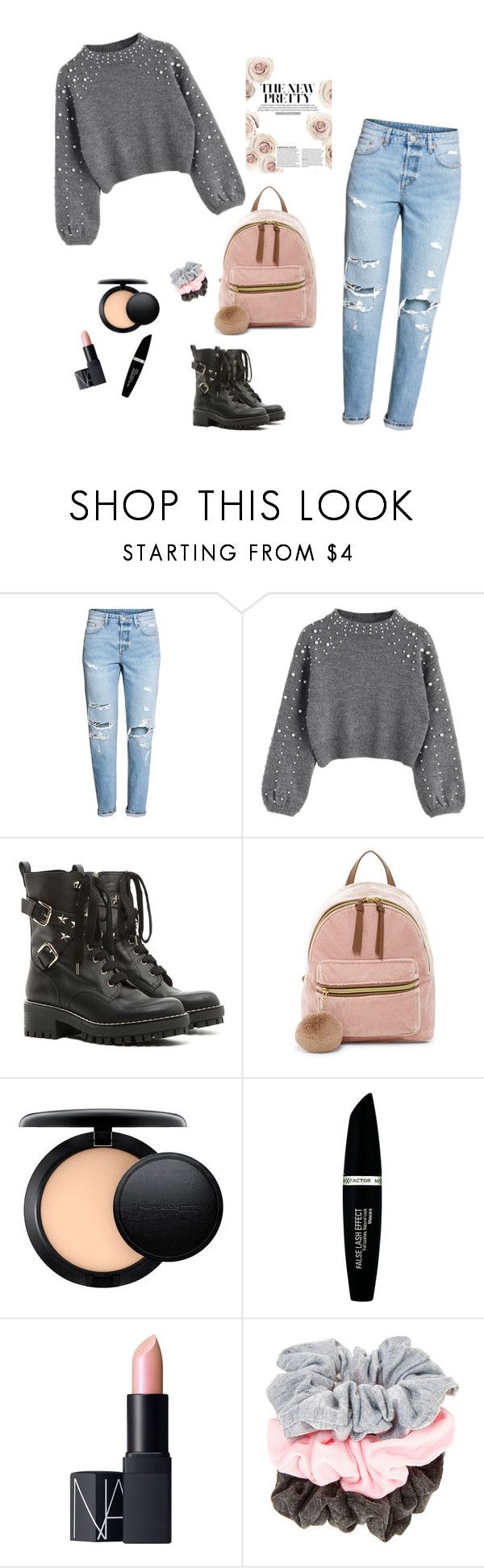"""pretty"" by aminiona ❤ liked on Polyvore featuring H&M, RED Valentino, T-shirt & Jeans, MAC Cosmetics, Max Factor and NARS Cosmetics"