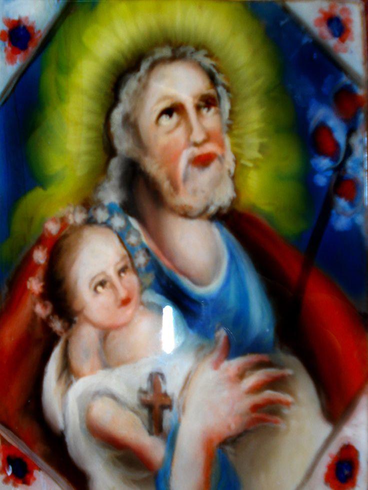 San Giuseppe con BambinoPittura su Vetro CM 40X30