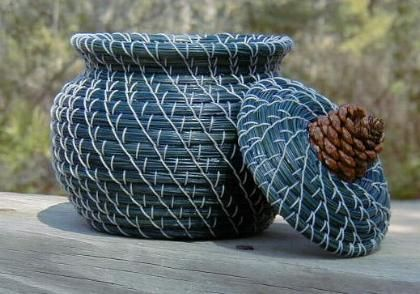 Blue pine needle basket by Lynn & Sue Van Couvering and Lindsey Uribe