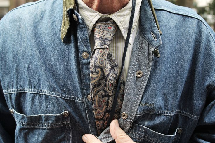 Worn denim, classic paisley, ageless style. Shoreditch Style