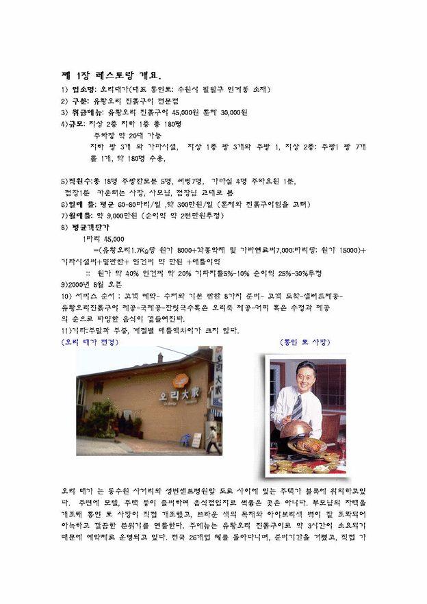 [외식사업] 유황오리전문점경쟁력분석 리포트
