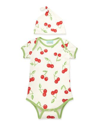Cherry Pick One-Piece Pajamas & Hat, 3-14 Months  by Bedhead at Neiman Marcus.