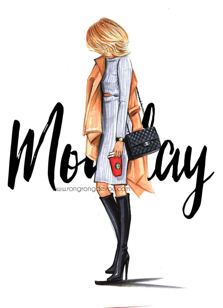 Fashion Illustration by Houston fashion illustrator Rongrong DeVoe| Starbucks coffee lover| More fashion illustrations on www.rongrongillustration.etsy.com