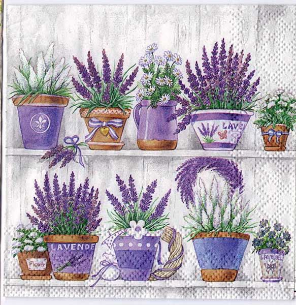 Decoupage Paper Art Napkin | Lavender Flowerpots by Chiarotino on Etsy