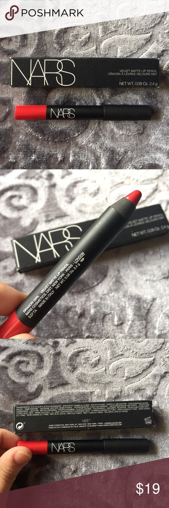 """NIB NARS Dragon Girl Velvet Matte Red Lipstick Brand new in box, never used nor swatched! NARS Velvet Matte Lipstick pencil in the shade """"Dragon Girl,"""" a fiery red. Full sized, retails for $26. NARS Makeup Lipstick"""