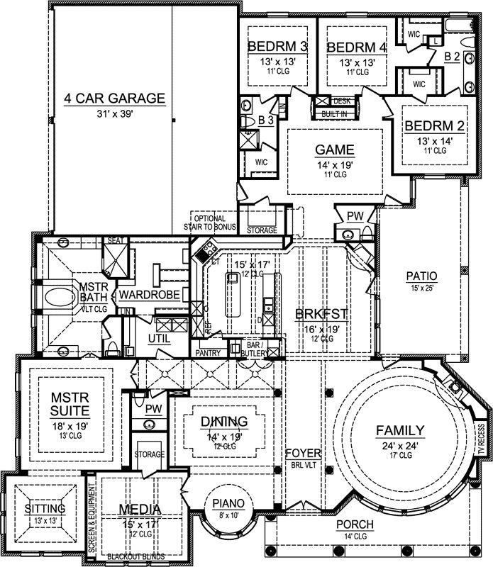 Luxury Style House Plans - 4977 Square Foot Home, 1 Story, 4 Bedroom and 3 3 Bath, 4 Garage Stalls by Monster House Plans - Plan 63-451