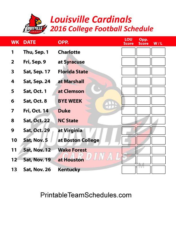 Louisville Cardinals College Football Schedule 2016. Print Here: http://printableteamschedules.com/collegefootball/louisvillecardinals.php