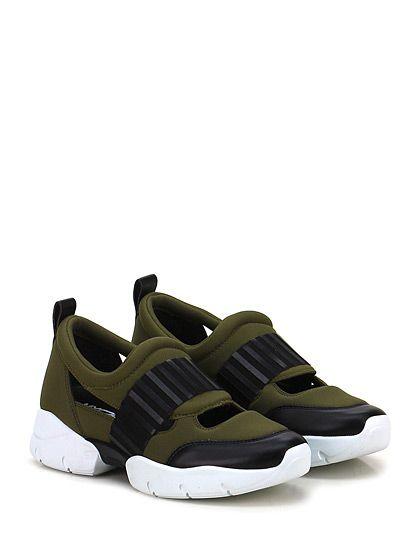 GREY MER - Sneakers - Donna - Sneaker in tessuto tecnico e pelle con aperture su tomaia e fascia lavorata frontale. Suola in gomma extra light, tacco 40, platform 25 con battuta 15. - MILITARE\NERO