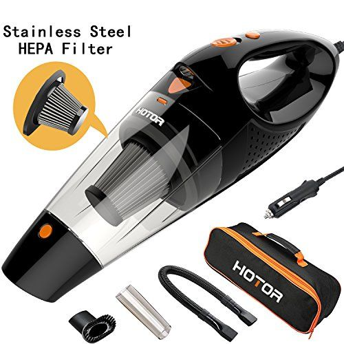 [4th Gen] HOTOR Car Vacuum, DC 12V Car Vacuum Cleaner High Power with Stronger Suction, Potable Handheld Auto Vacuum Cleaner for Car with LED Light, Carrying Bag, HEPA Filter - Black & Orange. For product info go to:  https://www.caraccessoriesonlinemarket.com/4th-gen-hotor-car-vacuum-dc-12v-car-vacuum-cleaner-high-power-with-stronger-suction-potable-handheld-auto-vacuum-cleaner-for-car-with-led-light-carrying-bag-hepa-filter-black-orange/