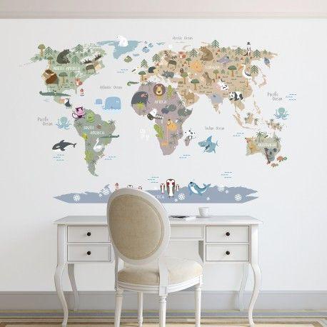 Mapamundi con los animales del mundo. Ideal para decorar habitaciones infantiles. Las tonalidades elegidas para el mapa son tendencia este año y son muy versátiles a la hora de elgir los complementos. https://nowayvinilos.com/es/home/270-vinilo-decorativo-mapamundi-politico.html