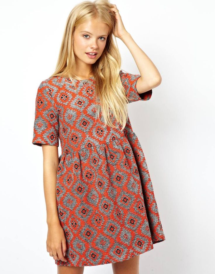 Jacquard Aztec Print Smock Dress