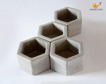 Modern planter set / mini succulent planter / by HARPALdecor