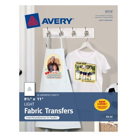 Avery Printable T Shirt Transfers For Light Fabrics Inkjet 18 8938 Walmart Com T Shirt Transfers Light Colored Fabric Inkjet