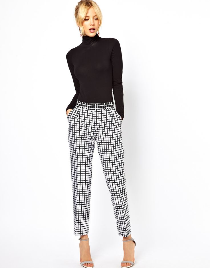 ASOS black and white pants. checkered tapered pants from ASOS.