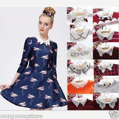 Women-039-s-Cotton-Detachable-Faux-Fake-Lapel-Shirt-Collar-Necklace-Removable-Choker