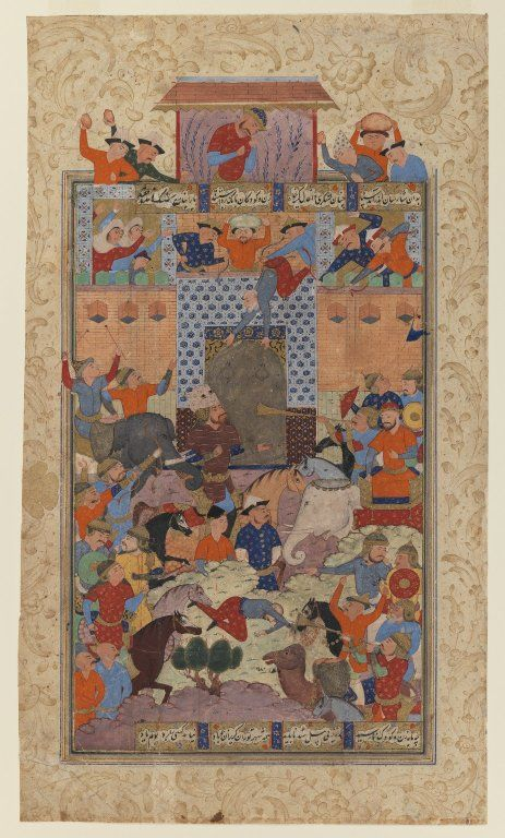 """Folio from a """"Shahnameh"""": The Iranians Capture Afrasiyab's      Fortress, ca. 1580-1590. Ink and opaque watercolor on paper, 14 1/2 x 8 3/4in. (36.8 x 22.2cm). Brooklyn Museum, Gift of the Ernest Erickson Foundation, Inc., 86.227.148 (Photo: Brooklyn Museum, 86.227.148_IMLS_PS3.jpg)"""