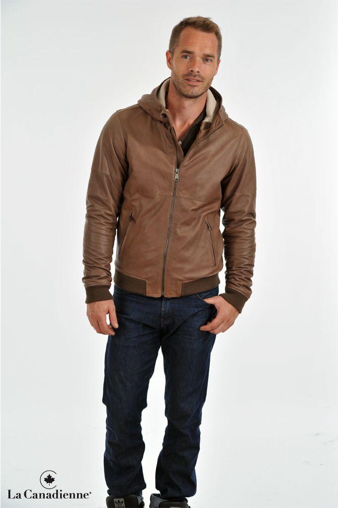 Manteau cuir capuche homme