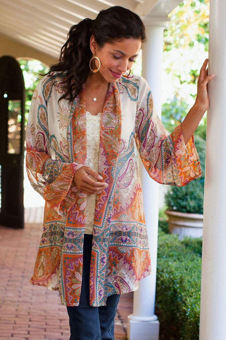 Catherine Topper - exquisite scarf print topper | Soft Surroundings