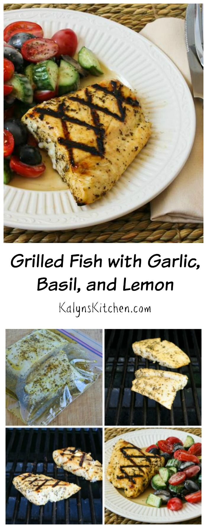 This delicious marinade for Grilled Fish with Garlic, Basil, and Lemon can be used on halibut, tilapia, mahi mahi, or any firm white fish, and this is a perfect dish for a summer party! [from KalynsKitchen.com] #LowCarb #GlutenFree #Paleo