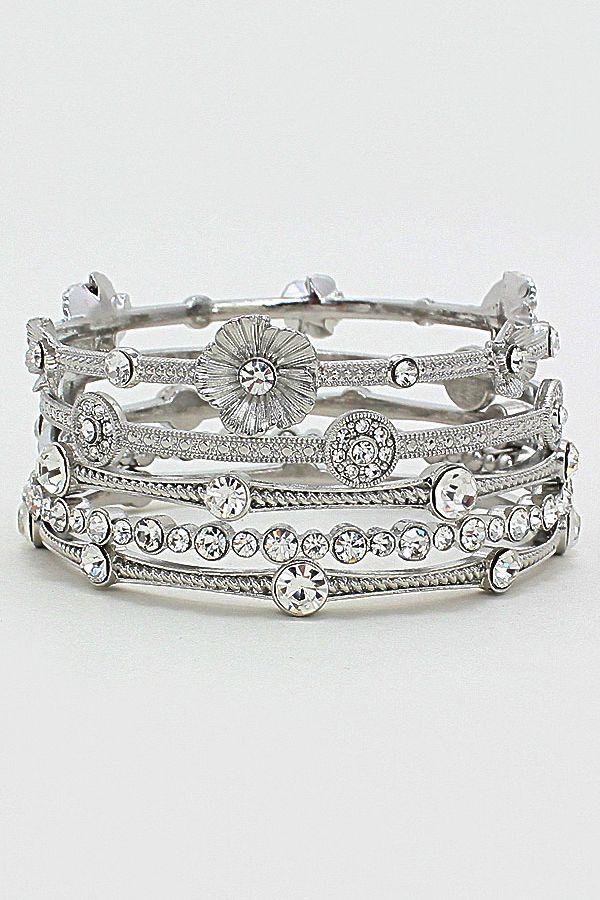 Sparkling Silver Filigree Flower Bracelet